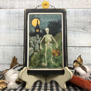 "Vintage Postcard Plaque Decor - ""Spooky Skeleton"""
