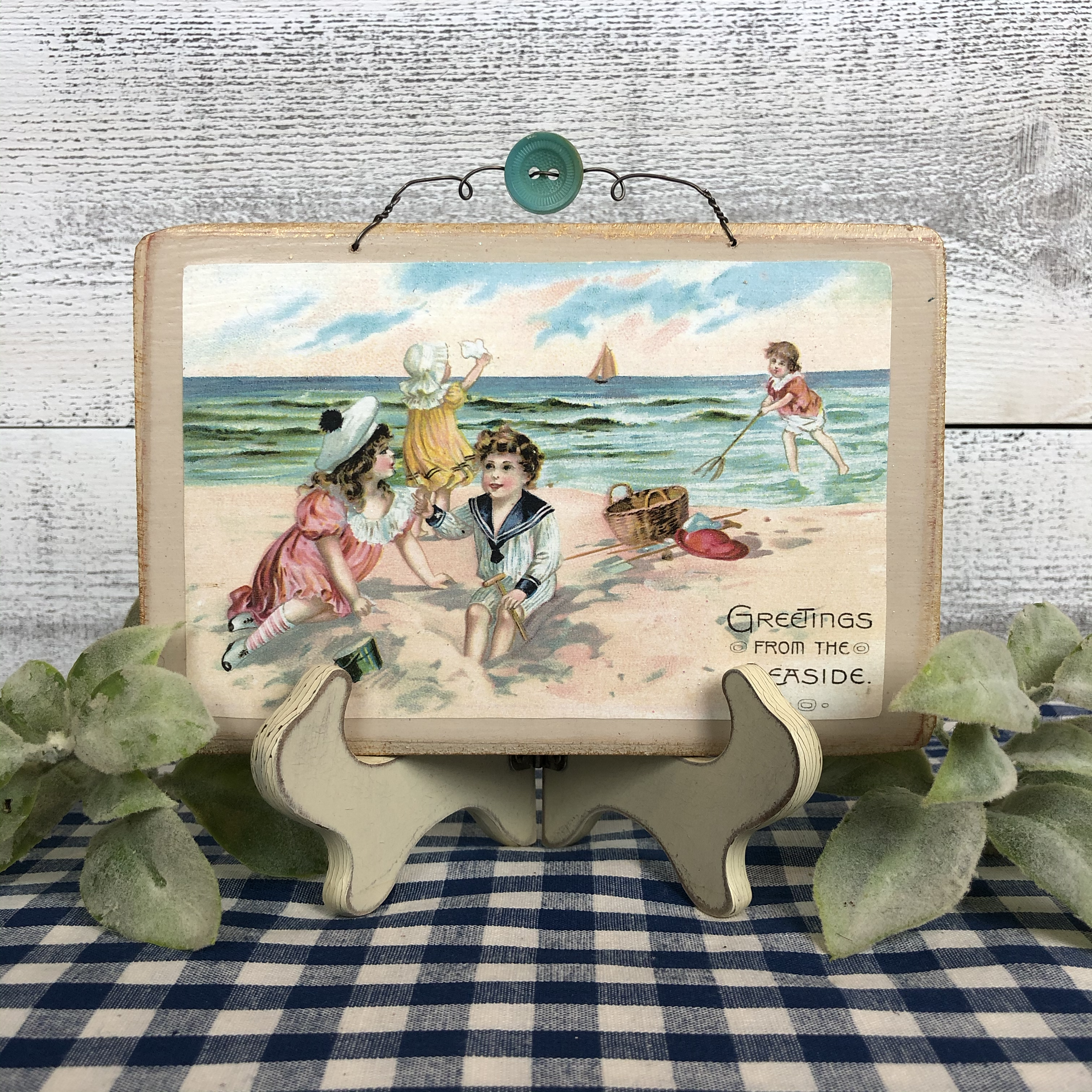 "Vintage Postcard Plaque Decor - ""Seaside Fun"""