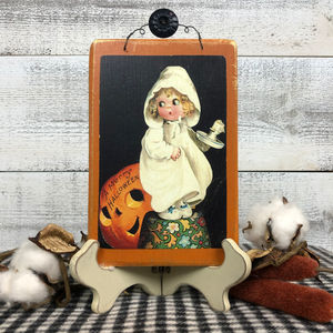 "Vintage Postcard Plaque Decor - ""Frightened Franny"""