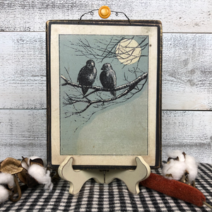 "Vintage Postcard Plaque Decor - ""Midnight Crows"""