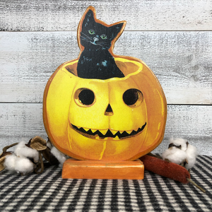 "Vintage Postcard Cut-Out Decor - ""A Kitten Halloween"""