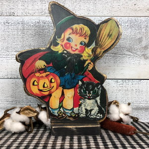 "Vintage Postcard Cut-Out Decor - ""Little Witch"""