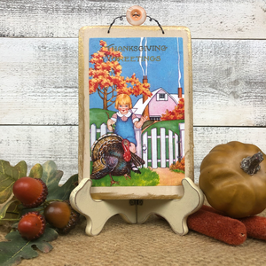 "Vintage Postcard Plaque Decor - ""Thanksgiving Greetings"""