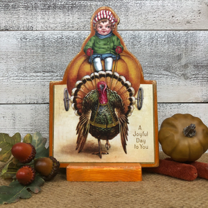 "Vintage Postcard Cut-Out Decor - ""Giddy-up Gobble"""