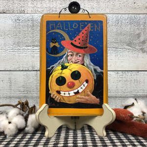 "Vintage Postcard Plaque Decor - ""Witch's Halloween"""