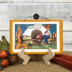"Vintage Postcard Plaque Decor - ""Farm Thanksgiving"""