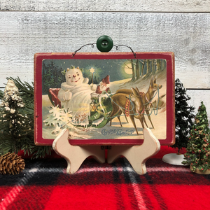 "Vintage Postcard Plaque Decor - ""Victorian Snowman in Sled"""