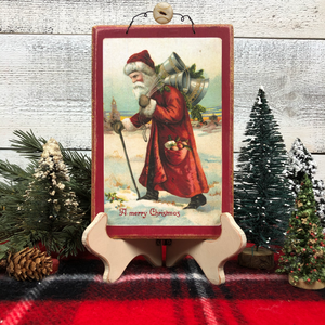"Vintage Postcard Plaque Decor - ""Victorian Santa"""