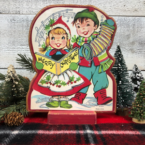 "Vintage Postcard Cut-Out Decor - ""Musical Merry Christmas"""
