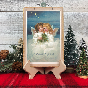 "Vintage Postcard Plaque Decor - ""Two Little Angels"""