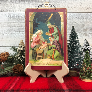 "Vintage Postcard Plaque Decor - ""Nativity Scene"""