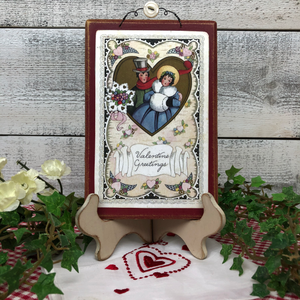"Vintage Postcard Plaque Decor - ""Valentine Greetings"""