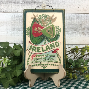 "Vintage Postcard Plaque Decor - ""Ireland"""