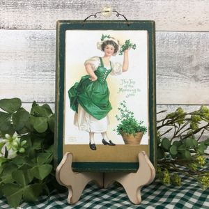 "Vintage Postcard Plaque Decor - ""Irish Morning"""