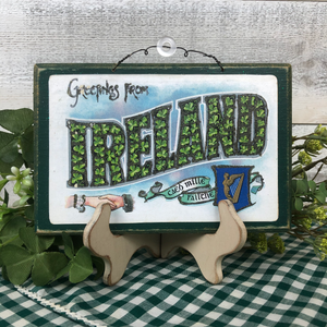 "Vintage Postcard Plaque Decor - ""Greetings From Ireland"""
