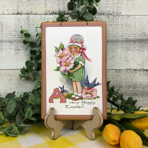 "Vintage Postcard Plaque Decor - ""Happy Easter"""