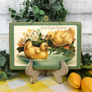 "Vintage Postcard Plaque Decor - ""Easter Chicks"""