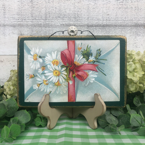 "Vintage Postcard Plaque Decor - ""Sending Daisies"""