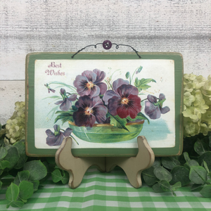 "Vintage Postcard Plaque Decor - ""Bowl of Pansies"""