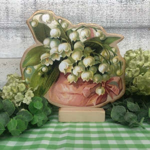 "Vintage Postcard Cut-Out Decor - ""Lily of the Valley Basket"""