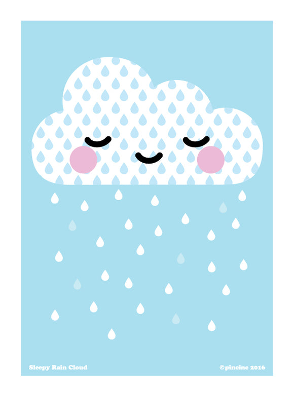 Sleepy Rain Cloud A4 Print