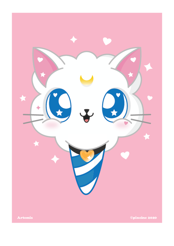 Kawaii Cute Artemis (Sailor Moon) Art Print