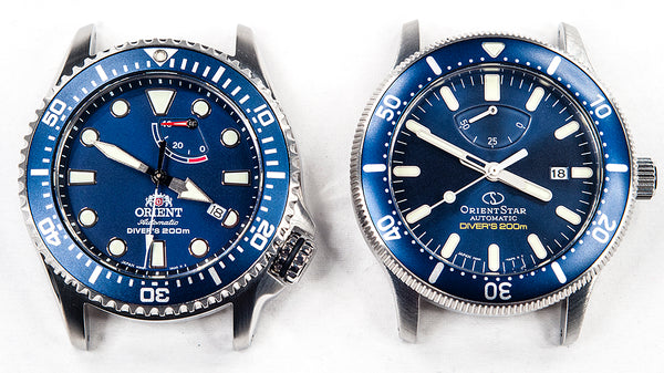 Orient Triton Neptune Star Diver Watch review comparison 200m Blue RA-EL0002L00A RE-AU0302L00B dial bezel markers hands