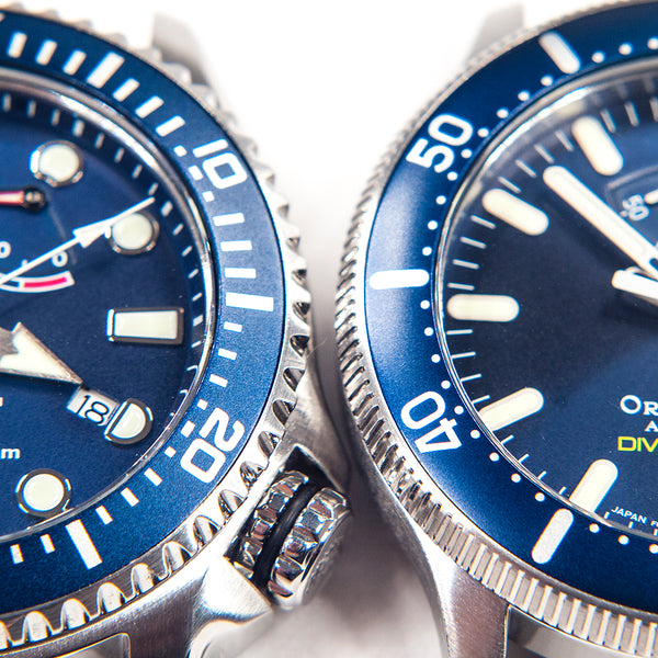 Orient Triton Neptune Star Diver Watch review comparison 200m Blue RA-EL0002L00A RE-AU0302L00B bezel crown