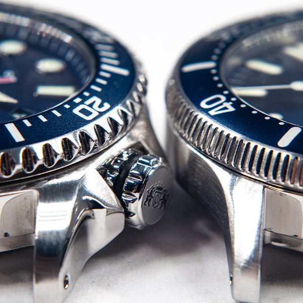 Orient Triton Neptune Star Diver Watch review comparison 200m Blue RA-EL0002L00A RE-AU0302L00B bezel crown lugs