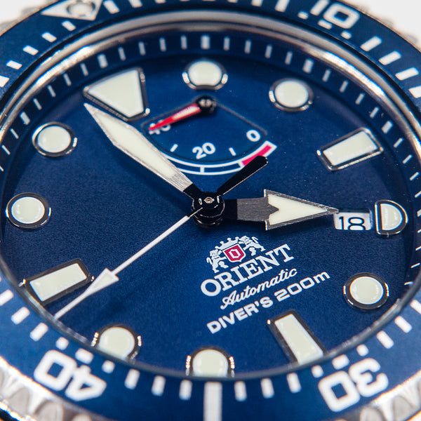 Orient Triton Neptune Diver Watch review comparison 200m Blue RA-EL0002L00A dial lume markers hands