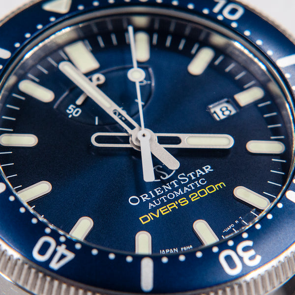 Orient Star Diver Watch review comparison 200m Blue RE-AU0302L00B dial hands markers orientstar