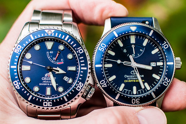Orient Triton Neptune Star Diver Watch review comparison 200m Blue RA-EL0002L00A RE-AU0302L00B dial bezel front view orientstar