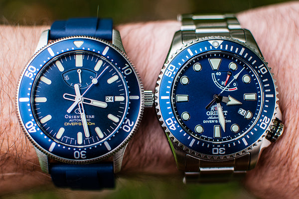Orient Triton Neptune Star Diver Watch review comparison 200m Blue RA-EL0002L00A RE-AU0302L00B dial wrist shot on wrist wearing orientstar