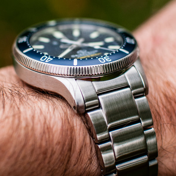Orient Star Diver Watch review comparison 200m Blue wrist shot wearing bracelet