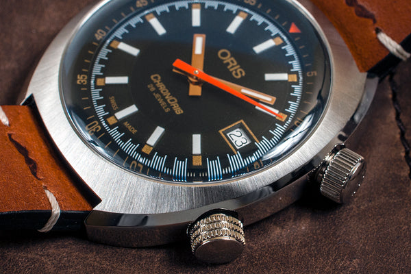 Oris Chronoris Movember Edition Watch Review - (01 733 7737 4034) Case Dial Crown Crowns