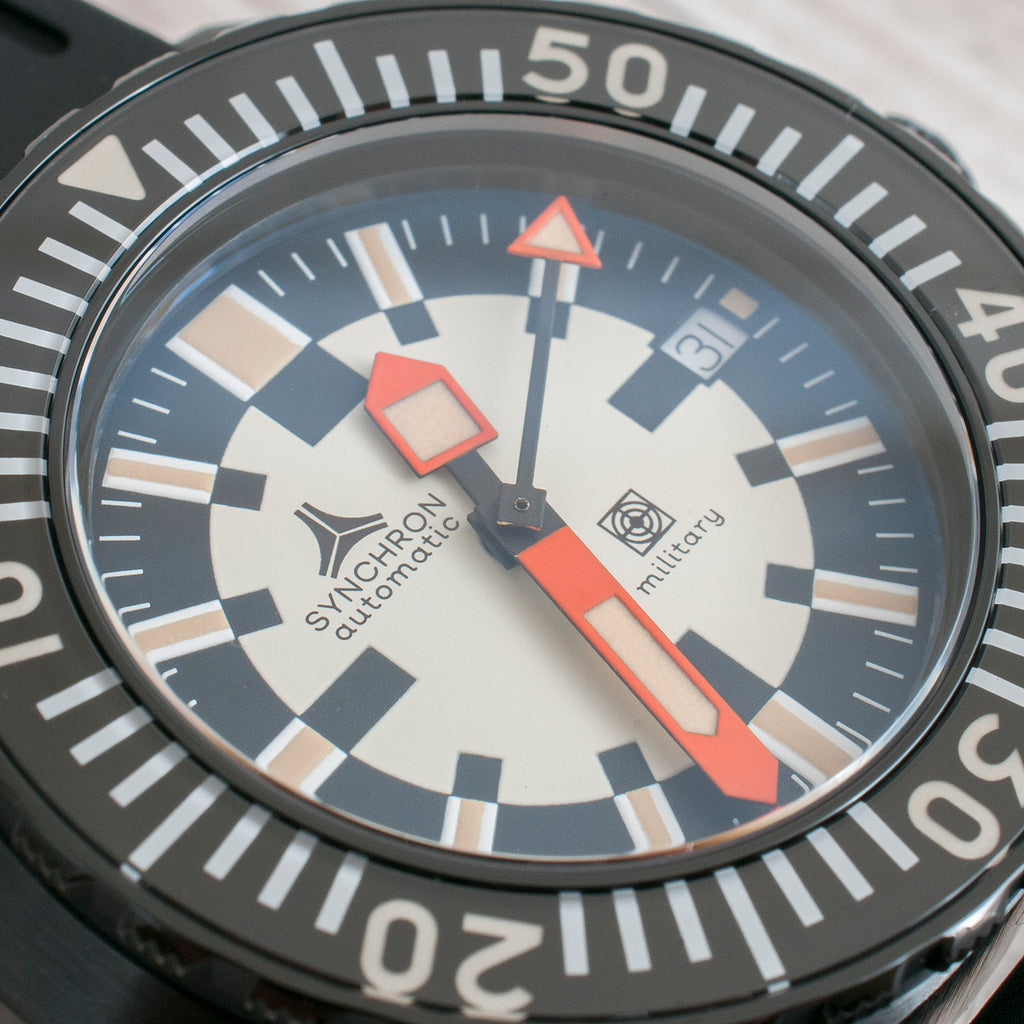 Synchron Military Watch Review Black PVD bezel dial hands