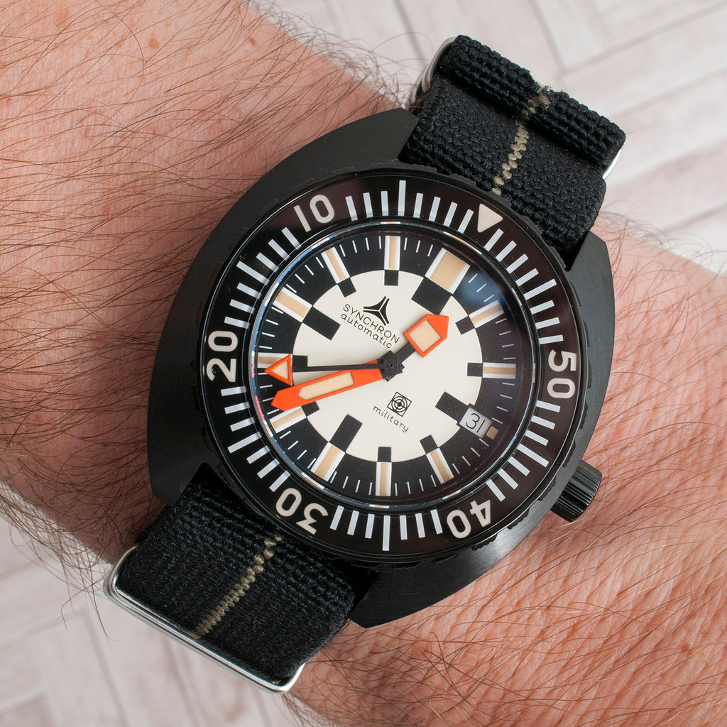 Synchron military review doxa army elastic parachute marine nationale strap