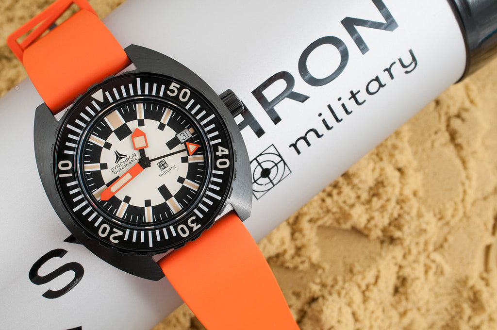 Synchron military watch review orange rubber strap doxa army