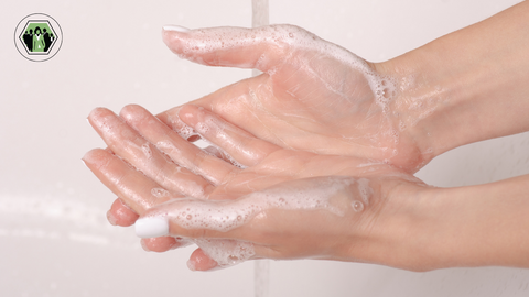 Hands gliding because of soap and water like how fascia works