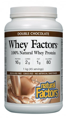 Whey Factors, Protéine de petitlait 100% Naturelle, Double Chocolate