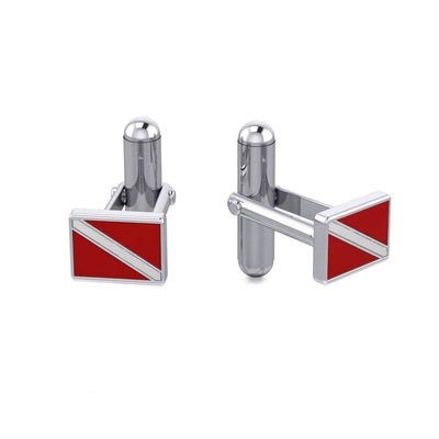 Dive further to your dreams ~ Sterling Silver DiveFlag Cuff links CL041 Cufflinks