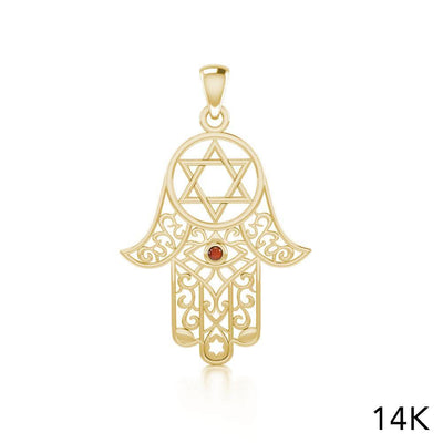 Hamsa and Star of David Solid Gold Pendant with Gemstone GPD5079 peterstone.