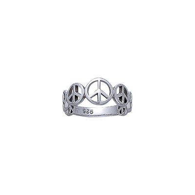 Peace Symbol Silver Band Ring JR064