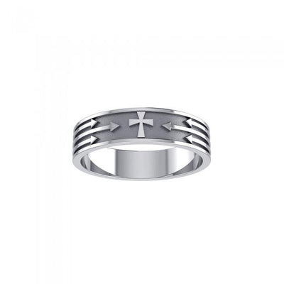 Cross and Arrows Sterling Silver Ring JR230