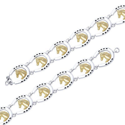 Friesian Horse in Horseshoe Silver & Gold Bracelet MBL104