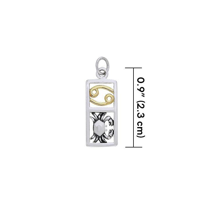 Cancer Silver and Gold Charm MCM298 Charm