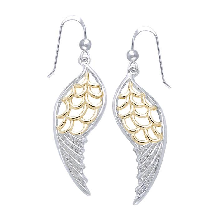 Feel the Angel's Gentle Wings ~ Silver and Gold Jewelry Dangling Earrings MER1131