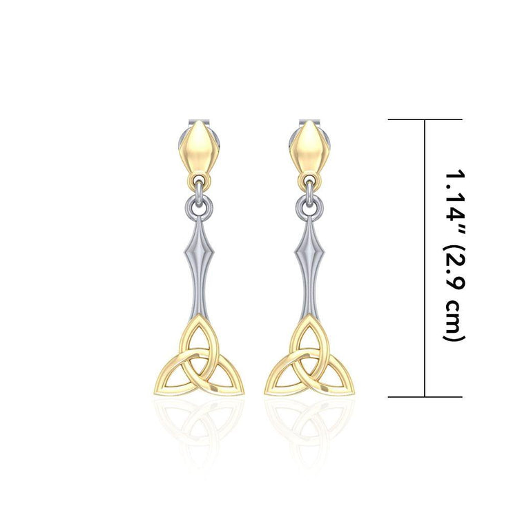 Celtic Trinity Knot Silver and Gold Post Earrings MER1679