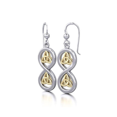 Infinity with Trinity Knot Silver and Gold Earrings MER1736