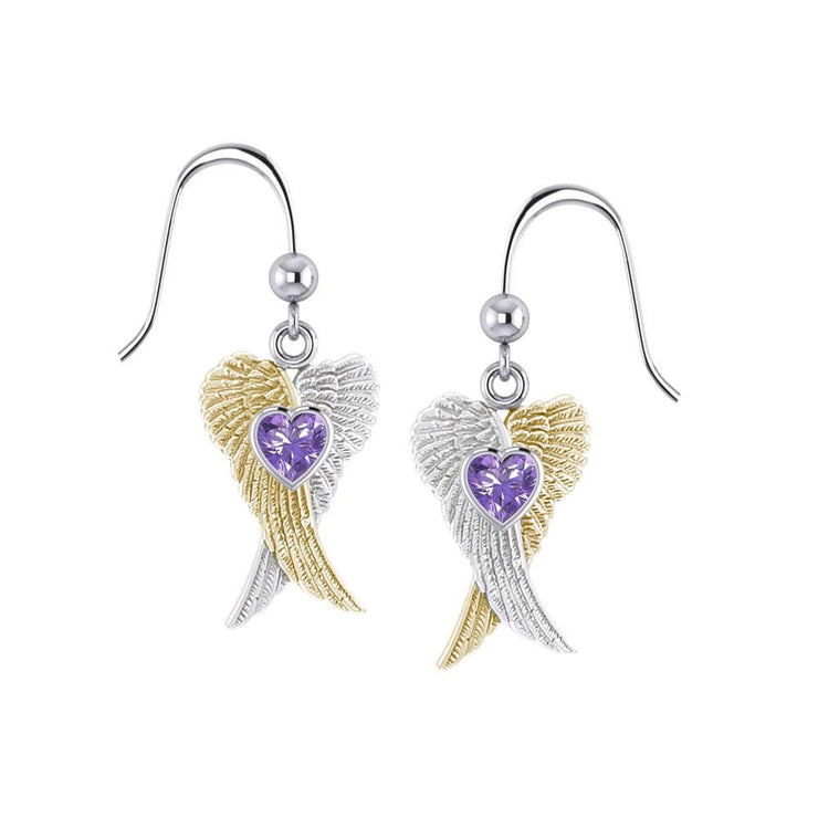 Heart Gemstone and Double Angel Wings Silver and 14K Gold Plate Earrings MER1744